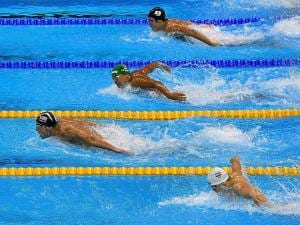 men's 200-meter butterfly final during the swimming competitions at the 2016 Summer Olympics