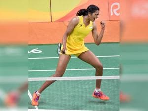India's Sindhu Pusarla celebrate after defeating Japan's Nozomi Okuhara during a women's singles semifinal