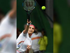 India's Sania Mirza during the Mixed Doubles match