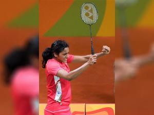 Shuttler P.V. Sindhu celebrates her win