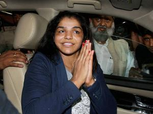 Sakshi Malik on her arrival at IGI airport