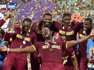 West Indies men, women team celebrate World T20 win