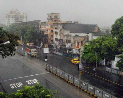 <p>A view of a locality during shower in Kolkata on Thursday.</P