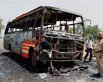 Charred bus near Amritsar