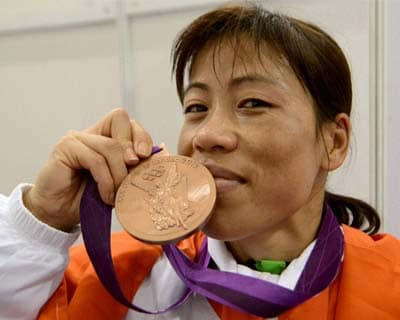 Mary Kom with the Olympic bronze medal
