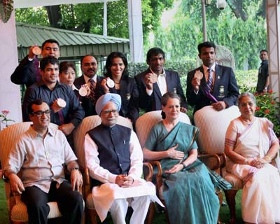 PM with London Olympics medal winners