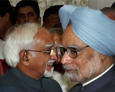 Hamid Ansari with Manmohan Singh