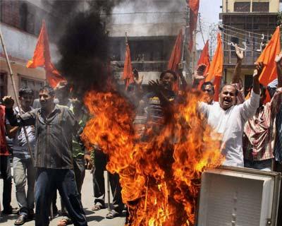 Shiv Sena activists protesting