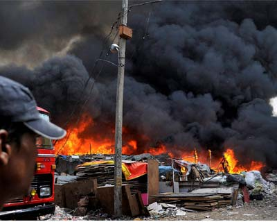 Major fire at a slum