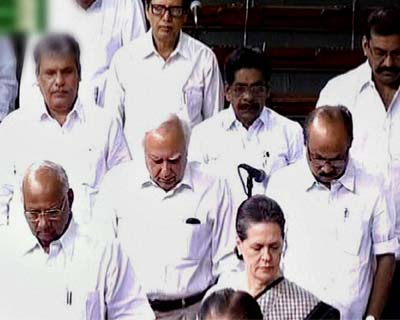 Members pay tribute to Vilasrao Deshmukh in the Lok Sabha