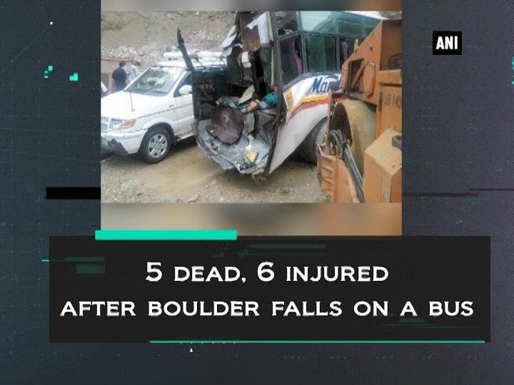 5 dead, 6 injured after boulder falls on a bus