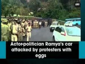 Actor-politician Ramya's car attacked by protesters with eggs