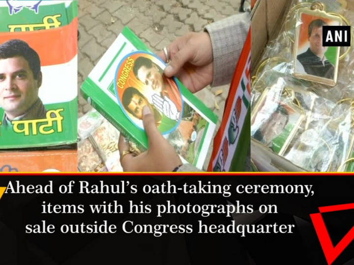 Ahead of Rahul's oath-taking ceremony, items with his photographs on sale outside Congress headquarter