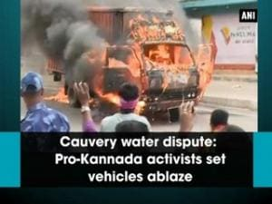 Cauvery water dispute: Pro-Kannada activists set vehicles ablaze