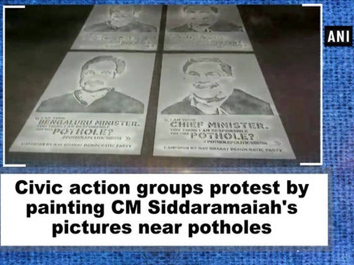 Civic action groups protest by painting CM Siddaramaiah's pictures near potholes