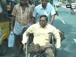 Differently-abled protest against PWD in Chennai