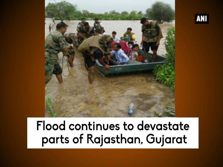Flood continues to devastate parts of Rajasthan, Gujarat