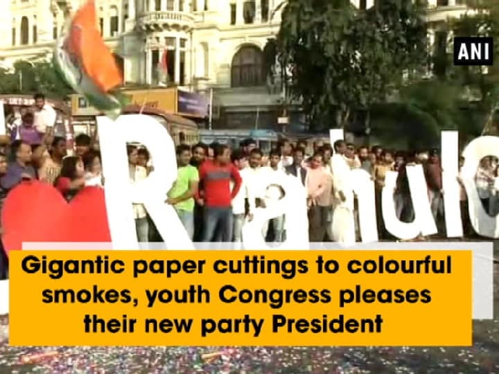 Gigantic paper cuttings to colourful smokes, youth Congress pleases their new party President