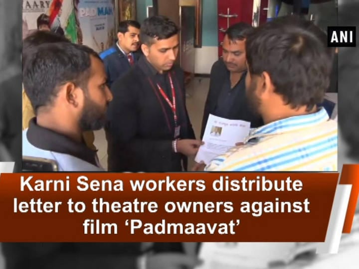 Karni Sena workers distribute letter to theatre owners against film 'Padmaavat'