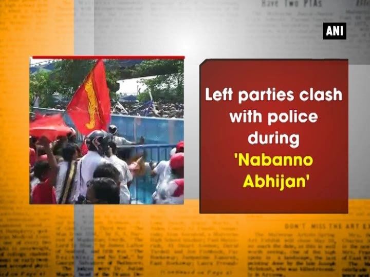 Left parties clash with police during 'Nabanno Abhijan'