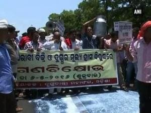 Milk producers pour milk on streets in protest against Odisha Govt.