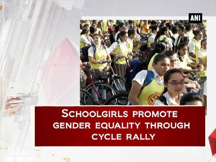 Schoolgirls promote gender equality through cycle rally