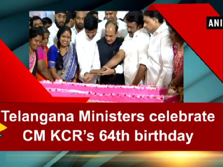 Telangana Ministers celebrate CM KCR's 64th birthday