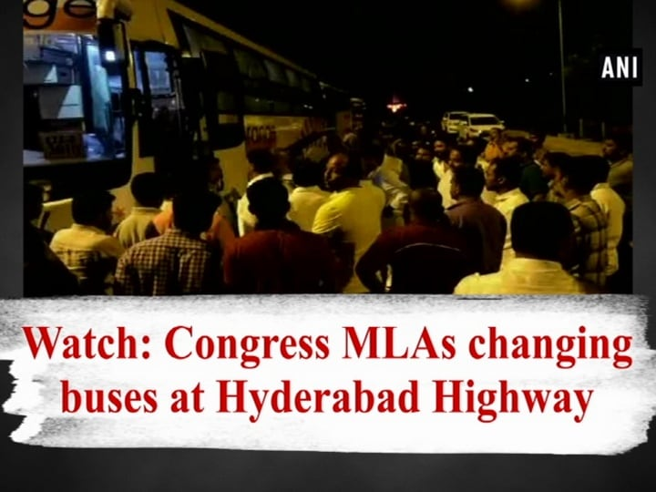 Watch: Congress MLAs changing buses at Hyderabad Highway