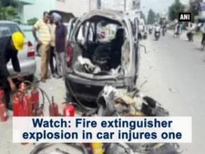 Watch: Fire extinguisher explosion in car injures one