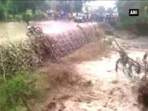 Watch: Motorcycle borne washed away by fast flowing water