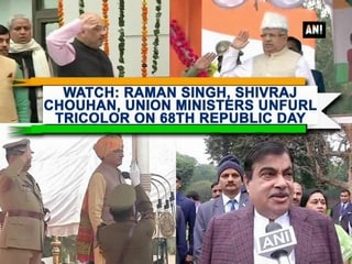 Watch: Raman Singh, Shivraj Chouhan, Union Ministers unfurl tricolor on 68th Republic Day