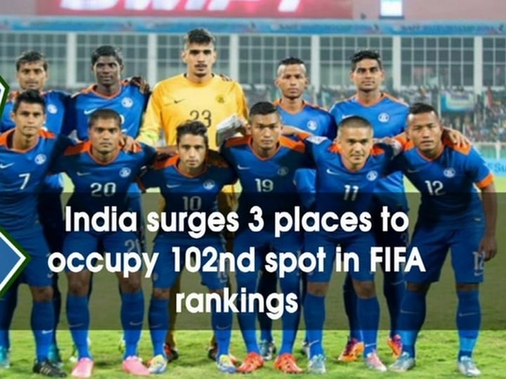 India surges 3 places to occupy 102nd spot in FIFA rankings