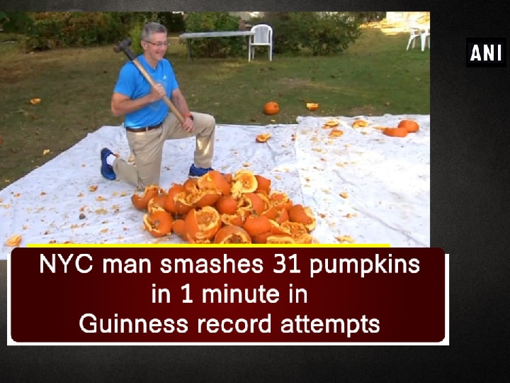 NYC man smashes 31 pumpkins in 1 minute in Guinness record attempts