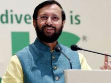 Union Information & Broadcast Minister Prakash Javadekar addresses the audience at the 69th WAZA annual conference in New Delhi on November 3, 2014.