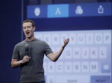 CEO Mark Zuckerberg gestures while delivering the keynote address at the Facebook F8 Developer Conference in San Francisco