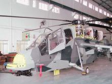A light combat helicopter readies for a test flight at Hindustan Aeronautics Ltd