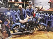 Eicher Motors Chief Executive Officer Siddhartha Lal (right) and President of Royal Enfield Rudratej Singh at Royal Enfield's new flagship store in New Delhi