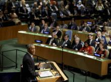 United States President Barack Obama speaks during the 70th session of the United Nations General Assembly at UN headquarters