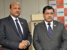 (From left) Kishor Kharat, MD & CEO, IDBI Bank and  B K Batra, Deputy MD, IDBI Bank at press conference to announce the lender's third quarter results in Mumbai (pic: Suryakant Niwate)