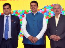 (From left) Amitabh Kant, Secretary of the Department of Industrial Policy, Devendra Fadnavis, CM of Maharashtra and  Subhash Desai, Maharashtra Industries Minister, at the Make In India Center Expo in Mumbai (pic: Suryakant Niwate)