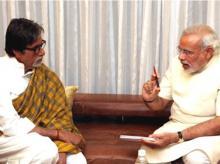 Prime Minister Narendra Modi speaking to Amitabh Bachchan. Photo: narendramodi.in