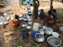 Women wait for their turn to fill water in Bhubaneswar. About 511 tankers have been engaged and 987 syntex tanks procured to meet the deficit in urban areas