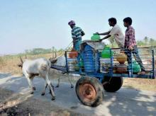 Villagers on their way to collect drinking water in Karnataka on Wednesday