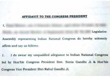 Congress MLAs in West Bengal sign affidavits swearing allegiance to Rahul, Sonia Gandhi. Photo: The Indian Express
