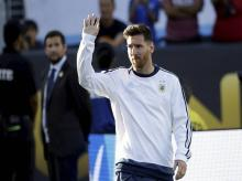 Argentina's Lionel Messi waves before the start of a Copa America Centenario Group A soccer match between Argentina and Chile at the Levi's Stadium in Santa Clara, Calif