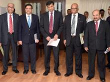 Raghuram Rajan with the Deputy governors S S Mundra, Urjit Patel, R Gandhi and N S Vishwanathan