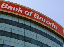 The Bank of Baroda headquarters is pictured in Mumbai
