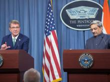 Defence Minister Manohar Parrikar with US counterpart Defence Secretary Ashton Carter