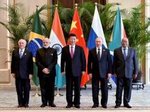 Prime Minister Narendra Modi with Chinese President Xi Jinping, Russian President Vladimir Putin, South African President Jacob Zuma and Brazilian President Michel Temer posing for a group photo before the BRICS meeting in Hangzhou, China.