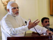 Prime Minister Narendra Modi addresses during the release of Vice-President Hamid Ansari's book 'Citizen and Society' at Rashtrapati Bhawan in New Delhi.